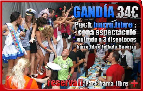 Gandía pack barra libre